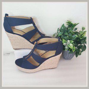 Michael Kors Blue Berkley Wedge Sandals Size 7.5